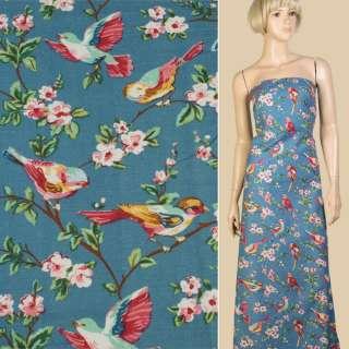 Лен синий с птицами и цветущими ветками, ш.145