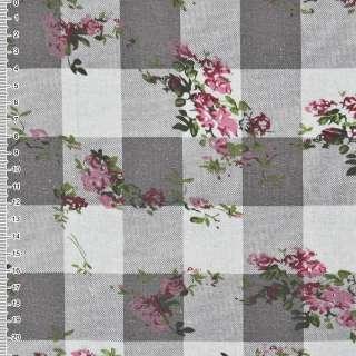 Льон кремовий в коричневі квадрати з квітами ш.140