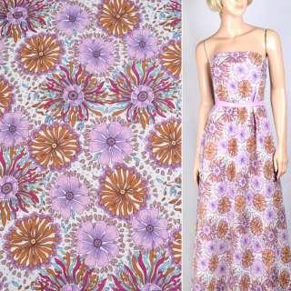 Льон білий з фіолетово-рожевими і темно-бежевими квітами ш.145