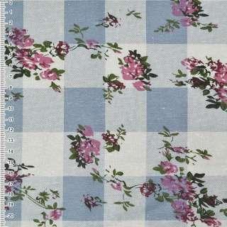 Льон білий в сіро-блакитні квадрати з квітами ш.140