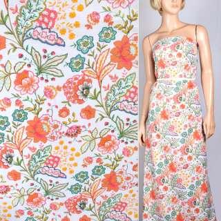 лен белый с оранжево-желтыми цветами ш.145