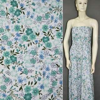 лен белый с бирюзовыми цветами ш.150