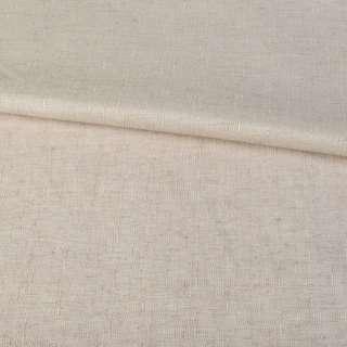 Лен костюмный светло-бежевый в мелкий рубчик ш.140