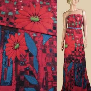 Лен красный, большие оранжевые цветы, синие листья, ш.150