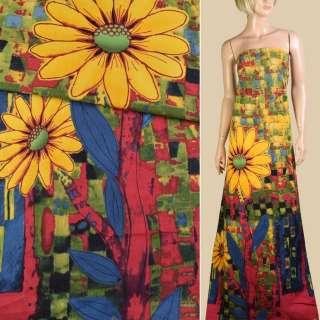 Лен желто-зеленый, большие желтые цветы, синие листья, ш.150