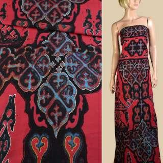 Лен красный в черно-голубой орнамент, 1ст. купон, ш.145