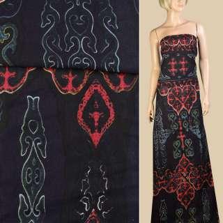 Лен черный в красно-голубой орнамент, ш.145
