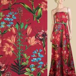 Льон червоний, помаранчеві лілії, зелене листя, ш.150