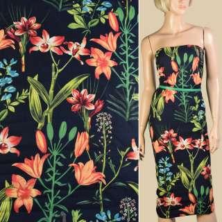 Лен черный, оранжевые лилии, зеленые листья, ш.150