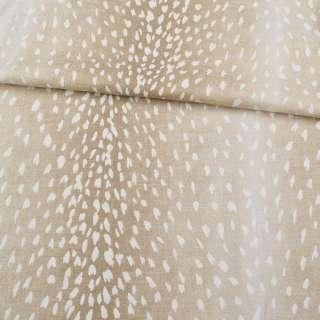 Льон з бавовною стрейч бежевий з переходом кольору, в білі плями, ш.150