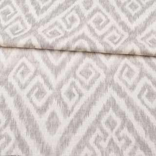 Льон з бавовною стрейч молочний в сірий орнамент, ш.148