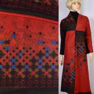 Лоден темно-серый в красный принт-рапорт ш.150