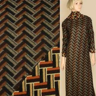 Лоден чорно-бежевий + помаранчевий геометричний візерунок, ш.150