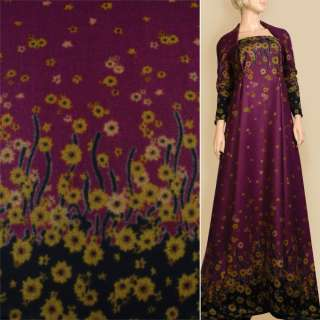 Лоден фіолетовий, 2-ст. купон в горчічно- коричневі квіти, ш.155