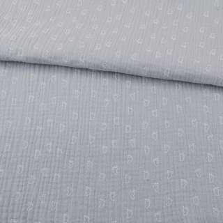 Муслин (марлевка жата подвійна) сірий світлий, білі лапки, ш.140