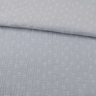 Муслин (марлевка жатая двойная) серый светлый, белые лапки, ш.140