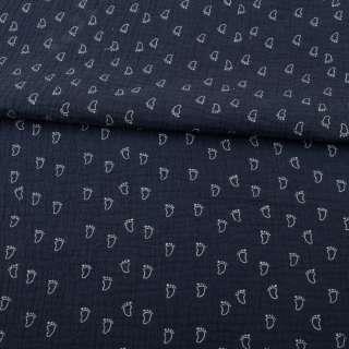 Муслин (марлевка жатая двойная) синий темный, белые лапки, ш.140