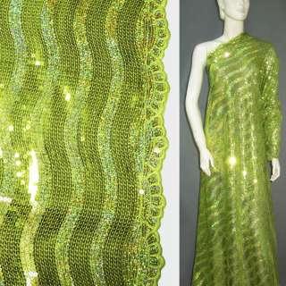 Сетка зеленая с густыми зелеными пайетками, ш.110