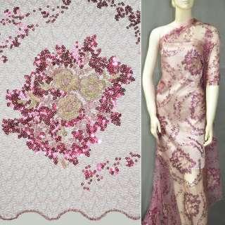Паутинка грязно-розовая с пайетками и букетом бежевых цветов ш.130