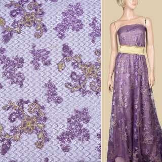 Паутинка фиолетовая с пайетками и бежевым цветком ш.130