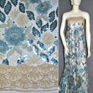 Павутинка блакитна з бежевою вишивкою і квітами з паєтками, 2-ст. купон ш.130