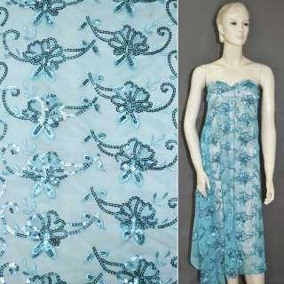 сітка блакитна з вишивкою і голуб.пайеткамі, ш.145