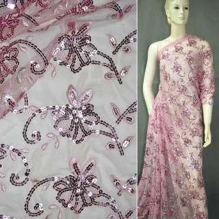 сітка рожева з вишивкою і роз.пайеткамі, ш.145