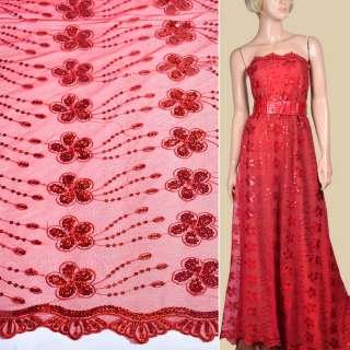 Сетка красная с вышитыми цветами и красными пайетками, ш.130
