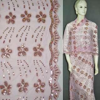 Сетка розовая с вышитыми цветами и розовыми пайетками, ш.130