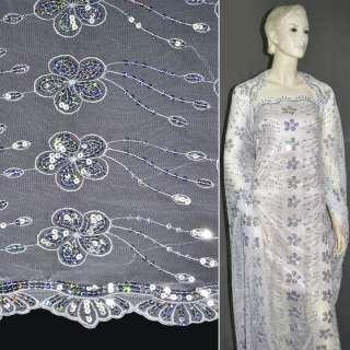 Сетка белая с вышитыми цветами и серебряными пайетками, ш.130