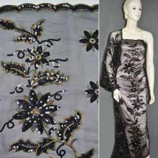 сетка черная с цветами из черн.пайеток и цв.выш, ш.130