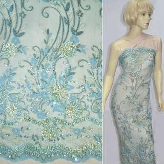 Сітка блакитна з молочними квітами з тасьми, золотих ниток, паєток ш.120