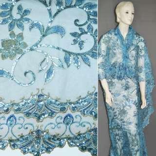 Сітка блакитна з вишитими бежевими кольорами і листям з паєток, 2-ст. купон ш.120