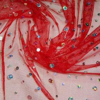 Сітка червона з круглими перламутровими паєтками, ш.150