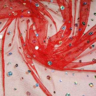Сітка червона з перламутровими паєтками, ш.150