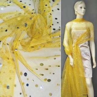 Сетка желтая с серебристыми пайетками ш.140