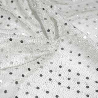 Чешуя белая с мелкими круглыми серебряными пайетками ш.100