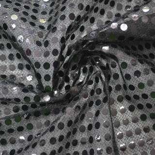 Чешуя черная с круглыми черными пайетками, ш.100