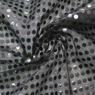 луска чорна з круглими чорними паєтками, ш.100 см.