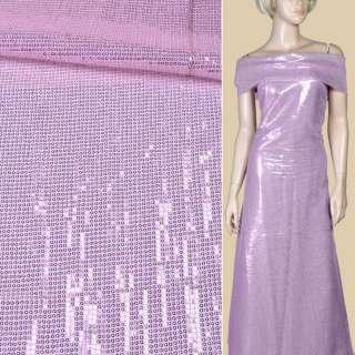 Пайетки* розовые блестящие, настроченные полосами на белой сетке, ш.135