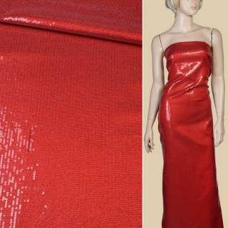 Пайетки* красные блестящие, настроченные полосами на мягком атласе, ш.125