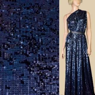 Пайетки* синие блестящие, настроченные полосами на трикотаже, ш.140