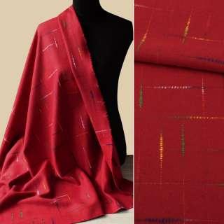 Ткань пальтовая с шерстью красная с цветными нитями ш.150