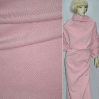 "ткань пальт. розовая ""ёлочка"" диагон. однотон, ш.150"