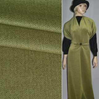 ткань пальтовая в елочку зеленая