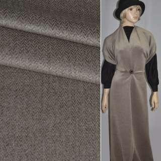 Ткань пальтовая в елочку темно-коричневая