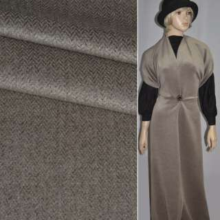 Тканина пальтова в ялинку темно-коричнева