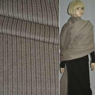 Тканина пальтова бежева в подовжній рубчик