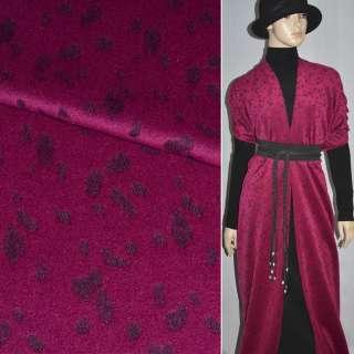 Тканина пальтова малинова з чорним жакардовим малюнком, ш.150