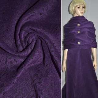Тканина пальтова фіолетова з чорним жакардовим малюнком, ш.150
